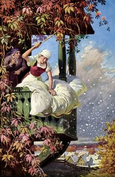 Frau Holle, beating her bedding and making it snow, by Otto Kubel Fine Art Prints, Framed Prints, Canvas Prints, Yule, Photo Mug, Fairytale Art, Children's Book Illustration, Book Illustrations, Poster Size Prints
