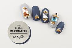 ネイディーン 高野尚子作 アクセサリーパーツを用いたネイルデザイン。
