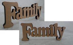 """""""FAMILY"""" em MDF cru para decoração de mesa, com espessura para parar em pé sem apoio. Medidas: 10 x 25 cm Espessura: 12 mm Material: MDF cru, sem pintura ou verniz. Fabricação: corte a laser. http://beijaflorartesanato.lojaintegrada.com.br/family-de-mesa"""