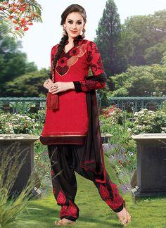 Red Cotton Semi Patiala Suit
