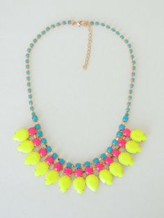 Neon necklace Statement necklace Neon rhinestone by spiritualacces Neon Jewelry, Rhinestone Necklace, Unique Jewelry, Jewelry Ideas, Jewels, Handmade Gifts, Vintage, Etsy, Insects