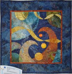 """Beyond Inner Space, 26 x 26"""",  by Naoko Kikuchi Second Prize, Wall Quilts.  2012 Rising Star Quilters Guild.  Hand pieced, machine pieced, hand appliquéd, machine quilted, metallic color rubbed"""