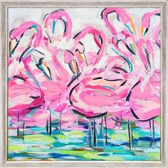 Offering an abstract take on a flock of flamingos wading into a pond, this mini painting print brings a splash of tropical style to any space in your home. Its bright pink, blue, and green tones offer a pop of color, while its weathered MDF frame balances out the design. Made in the United States, this canvas is complete with wall mounting hardware so you can hang it up as soon as it arrives.