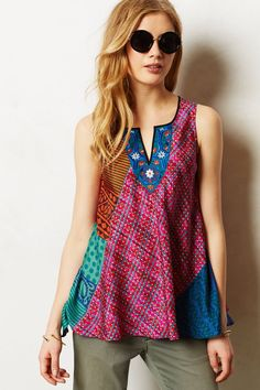 Khasia Silk Shell - anthropologie.com - Spring 2014 - pieced, loose, top, patchwork, ethnic, lots of pattern, collage, embroidery, red, blue, orange, turquoise
