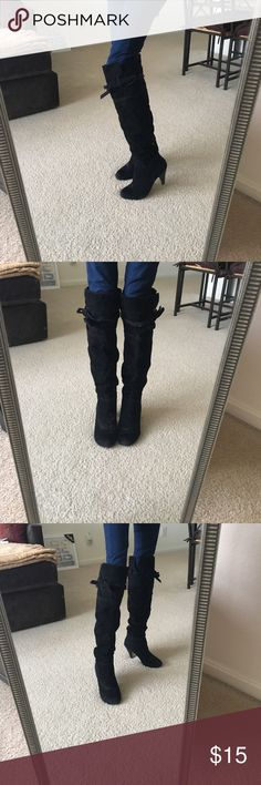 """Black faux suede boots Can be worn folded up above the knee and also folded down below the knee. The heel is close to 3"""" high. The strap around each leg are adjustable. Size is 8 but fits like a 7.5 Bakers Shoes Heeled Boots"""