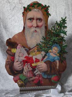 braune Santa-Büste mit Spielzeug brown santa with toys