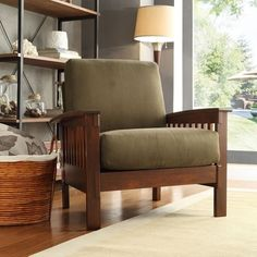 Hills Mission-Style Oak Accent Chair by TRIBECCA HOME   Overstock.com Shopping - The Best Deals on Living Room Chairs