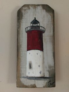 Lighthouse Paintings on Reclaimed Wood – C. Paintings Various lighthouses hand painted on vintage reclaimed wood Painting On Pallet Wood, Pallet Art, Diy Painting, Pallet Beds, Painted Driftwood, Driftwood Crafts, Painted Wood, Hand Painted, Painted Boards