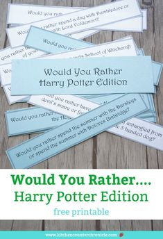 """Super fun """"Would You Rather"""" Harry Potter questions the entire family will love. Perfect for Harry Potter fans of all ages. A free printable game for family game night, the kid's lunch box or dinner conversation starters. #harrypotter #harrypottergame #wouldyourather #wouldyouratherharrypotter #wouldyouratherquestions #wouldyouratherforkids #wouldyouratherteens #freeprintable #printablegame #familygamenight #harrypotterquizes #hermionegranger #harrypotterbirthdaypartyideas #harrypottercrafts"""