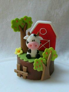 Bolo Fondant, Fondant Toppers, Fondant Cakes, Cupcake Cakes, Farm Animal Cakes, Farm Animal Party, Farm Party, Baby Birthday Cakes, Farm Birthday