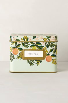 Grand Dame Recipe Tin (Citrus Floral)-  Anna Bond is the whimsical whirlwind behind Rifle Paper Co.,