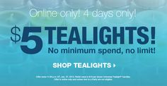 Dozen tealights for $5!! Run, don't walk, and stock up on these!! Did you know Party Lite tealight completely liquify and come in over 35 different scents?    www.partylite.biz/robynbishop