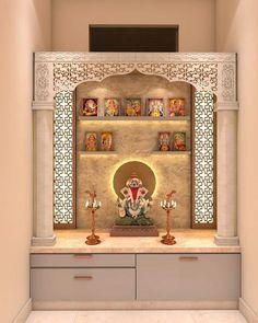 Pooja Room Door Design, Room Design Bedroom, Bedroom Furniture Design, Home Room Design, Home Decor Furniture, Home Interior Design, Living Room Designs, Temple Design For Home, House Front Design