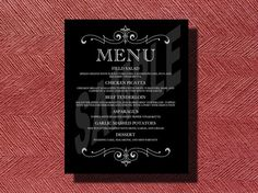 Custom+Designed+Wedding+Reception+Dinner+Menu+by+WeddingsByJamie,+$20.00