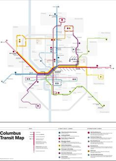 Fantasy Map: Columbus, Ohio Light Rail by Michael Tyznik It's been a good week for fantasy maps here on Transit Maps. Hot on the heels of the superb Freshwater Rail map comes this beauty from Michael. Bus Map, Train Map, Metro Map, Subway Map, Light Rail, Fantasy Map, Map Design, Design Ideas, Data Visualization