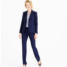 Women business pant suit Blazer is size medium and pants are a small. Color is dark blue with stripes. it is really beautiful and really detailed on the back of the blazer and back of the matching pants. Has a straight fit to the pants. Make an offer no trades!! Jackets & Coats Blazers