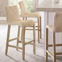 Shop our large selection of bar stools and counter stools, including leather stools in vibrant colors, and even swivel or backless stools - only at Grandin Road. Wicker Counter Stools, Woven Bar Stools, Counter Stools With Backs, Island Stools, Outdoor Bar Stools, Stools For Kitchen Island, Counter Height Bar Stools, Bar Counter, Rattan Bar Stools