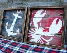 Nautical Wood Sign Set Maine Lobster Sign Wood Beach Sign Anchor Sign Nautical Decor Beach Decor Beach House Coastal Decor Framed Wood Sign