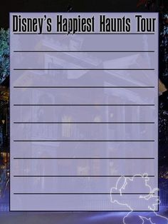 """Disney's Happiest Haunts Tour - Disneyland - Project Life Journal Card - Scrapbooking ~~~~~~~~~ Size: 3x4"""" @ 300 dpi. This card is **Personal use only - NOT for sale/resale** Logo/clipart/background belong to Disney. Font is Ravenscroft www.1001fonts.com/ravenscroft-font.html *** Click through to photobucket for more versions of this card ***"""