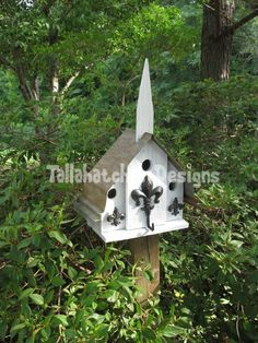 OFF TODAY Birdhouse In Reclaimed Wood Primitive Birdhouse Rustic Wedding Whitewashed Church Birdhouse Birdhouse Craft, Rustic Birdhouses, Bird Cages, Bird Feeders, Reclaimed Barn Wood, Rustic Design, Wood Projects, House Projects, Bird Houses