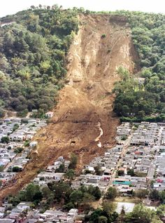 Deforestation: this landslide in El Salvador was caused after severe deforestation weakened the land. When an earthquake struck, the landslide alone killed 585 people in one town. 2001