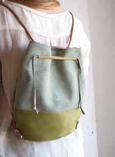 Lagoa Bucket Bag in Avocado and Sea Green Leather