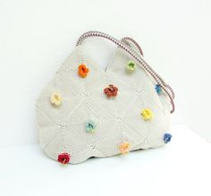 Campanula  Crochetted Bamboo Flower Bag by StarBags on Etsy, $107.00