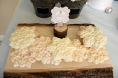 White chocolate snowflakes at a Winter wonderland party #winter #party