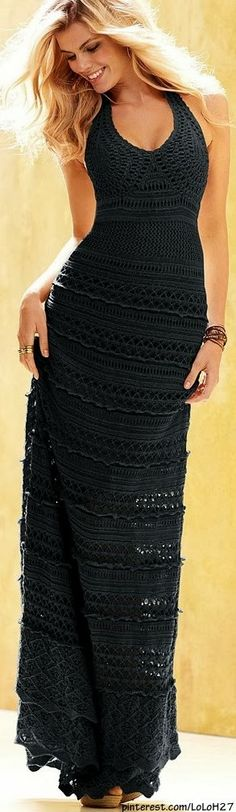 All Black Lace Maxi Dress