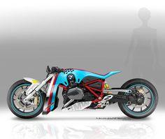 """Nicolas Petit, le designer français, a repensé la BMW R1200R pour donner naissance à une drag-bike """"tueuse de Ducati XDiavel"""", si l'on reprend ses termes."""