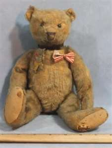 Image detail for -Antique Early Steiff White Mohair Bear W/ Tin Teddy Roosevelt Tin Pin ...