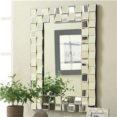 Accent+Mirrors+Contemporary+Rectangular+Wall+Mirror+in+Silver+Finish