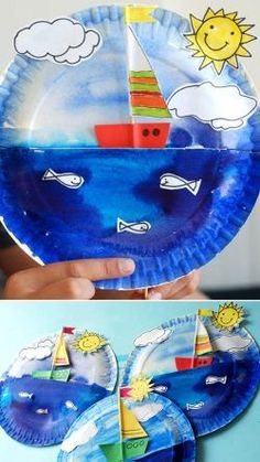 Boat Craft (krokotak) watch video: how to make: see more: Kids Crafts, Boat Crafts, Ocean Crafts, Diy And Crafts Sewing, Summer Crafts, Crafts For Teens, Crafts To Do, Arts And Crafts, Paper Plate Crafts
