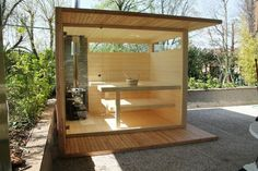 Outdoor sauna for a relaxing experience in the garden Design Sauna, Shed Design, Sauna Shower, Shower Tub, Modern Saunas, Sauna House, Pool Table Room, Garden Furniture Design, Outdoor Sauna