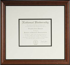 Another example of a beautifully framed graduation certificate - a perfect gift idea!