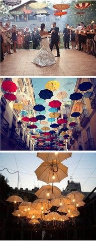 Great idea for outdoor lighting -- using umbrellas.