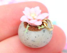 Kawaii suculento pote encanto, miniatura de arcilla de polímero hecho a mano