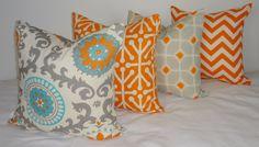 Pillow Set of 4 Turquoise Blue Grey Orange Ikat Geometric Pillow Cover Decorative Throw Pillow 18x18 on Etsy, $64.00