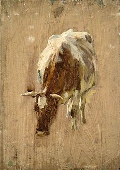Oil paint sketches of cows and bulls by Gunning King (1859-1940)