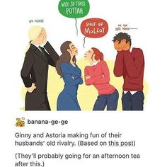 I rlly love this 😂 Credit to banana-ge-ge on tumblr #harrypotter #harrypotterart #harrypotterfanart #potterhead #potter #dracomalfoy #astoria #ginny #ginnyweasley #hinny #fanart #art #weasley #malfoy #pottah