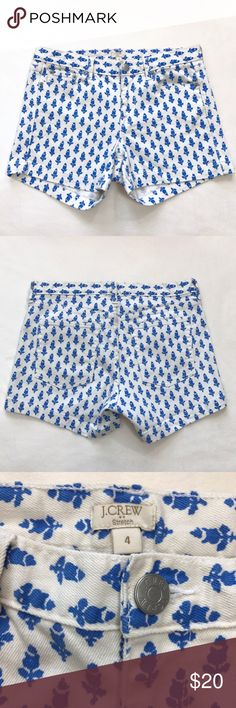 """J. Crew Printed Denim Short Still in good condition. PRODUCT DETAILS We topped our wear-all-season short in punchy prints to give your basic blues a break. 99% Cotton. 1% Spandex  City fit—our lowest rise. Sits just above hip. Zip fly. Traditional 5-pocket styling. 4"""" inseam. Waist-16"""". Length-12"""".  ---No low ball offers J. Crew Shorts Jean Shorts"""
