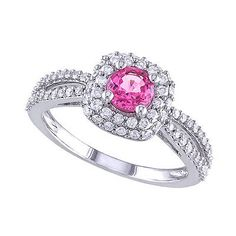 Gemstone 177020: 1.1 Ct Round Cut Pink Sapphire 14K White Gold Halo Engagement Ring BUY IT NOW ONLY: $2827.48