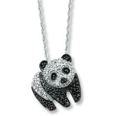 Diamond Panda Necklace 1/4 ct tw Round-cut Sterling Silver ($139) ❤ liked on Polyvore featuring jewelry, necklaces, diamond fine jewelry, black jewelry, black necklace, panda bear necklace y diamond jewelry