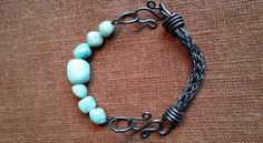 Viking Knit black link with stones of Amazonite .
