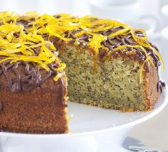 ORANGE POPPY SEED CAKE A light, zingy cake with a drizzle of chocolate and candied zest for a special finishing touch Chocolate Sauce Recipes, Chocolate Sundae, Chocolate Orange, Chocolate Cake, Food Cakes, Fruit Cakes, Orange Poppy Seed Cake, Springform Cake Tin, Bbc Good Food Recipes