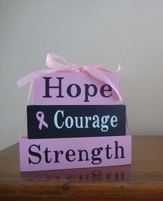 Breast Cancer Awareness wood block set - stacked set - october - pink - hope courage strength by DeannasCraftCottage on Etsy