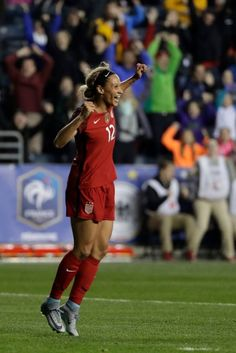 Lynn Williams after scoring the only goal in a victory over Germany, March (Matt Slocum/AP) Lynn Williams, Soccer Pictures, Association Football, Thing 1, Play Soccer, Soccer Players, Victorious, Olympics, Bodybuilding