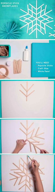 Draw a snowflake on paper, Cover with wax paper, put glue then sticks where the lines are!