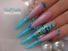 Bling Acrylic Nails, Best Acrylic Nails, Bling Nails, Swag Nails, Bright Nail Designs, Long Nail Designs, Nail Art Designs, Exotic Nails, Nails Only
