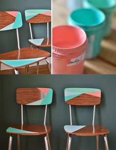 Idea decorar sillas antiguas -mamieboude.com - DIY Revival of Formica Chairs